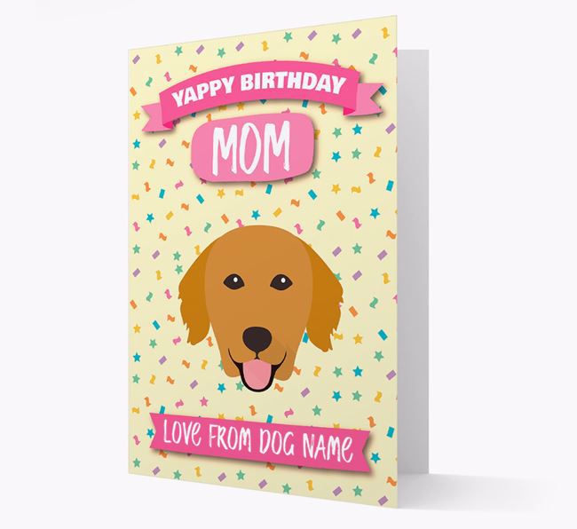 Personalized Card 'Yappy Birthday Mom' with Golden Retriever Icon