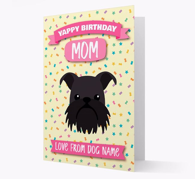 Personalized Card 'Yappy Birthday Mom' with Brussels Griffon Icon