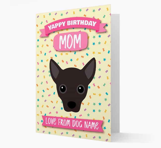 Personalized Card 'Yappy Birthday Mom' with Jack Chi Icon