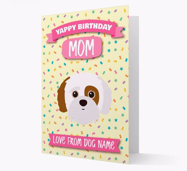 Personalized Card 'Yappy Birthday Mom' with Jack-a-Poo Icon