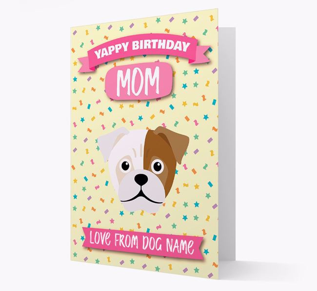 Personalized Card 'Yappy Birthday Mom' with Jug Icon