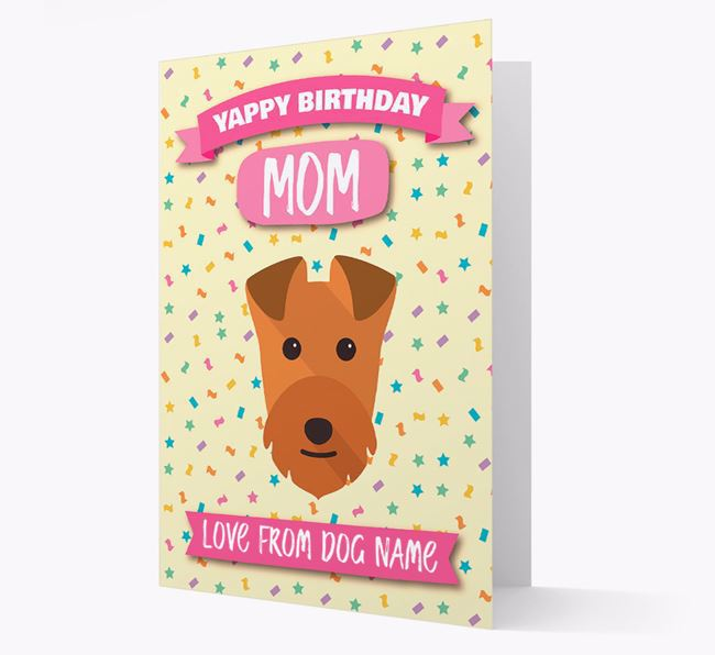 Personalized Card 'Yappy Birthday Mom' with Lakeland Icon