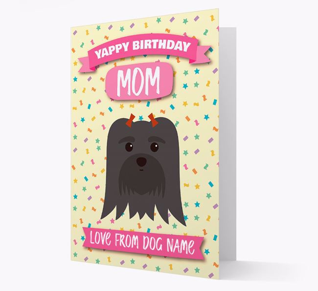 Personalized Card 'Yappy Birthday Mom' with Maltese Icon