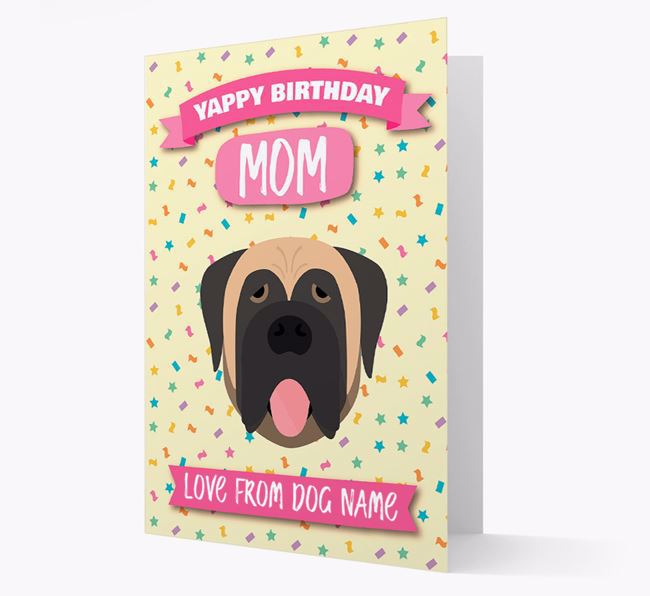 Personalized Card 'Yappy Birthday Mom' with Mastiff Icon
