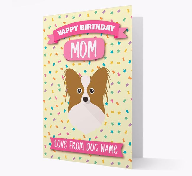 Personalized Card 'Yappy Birthday Mom' with Papillon Icon