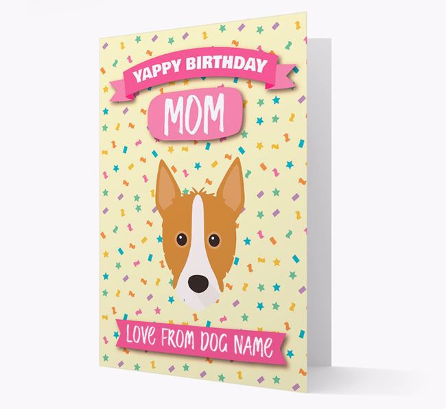 Personalized Card 'Yappy Birthday Mom' with Podengo Icon