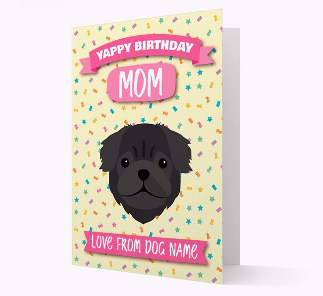 Personalized Card 'Yappy Birthday Mom' with Pug Icon