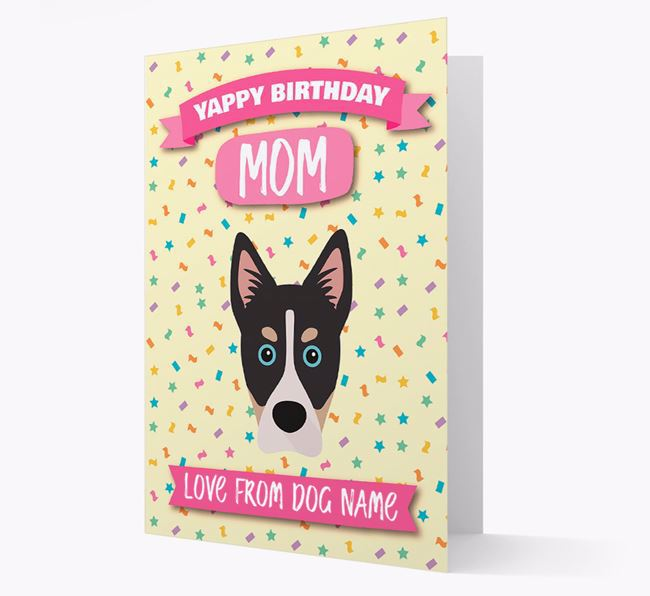 Personalized Card 'Yappy Birthday Mom' with Siberian Cocker Icon