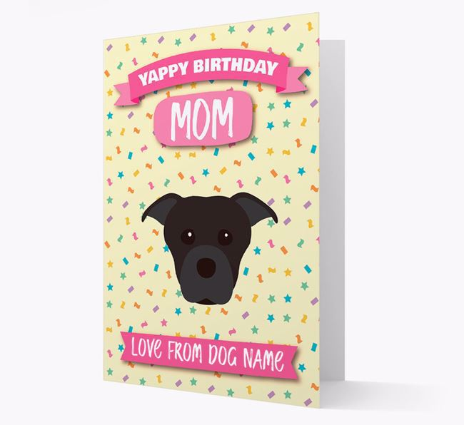 Personalized Card 'Yappy Birthday Mom' with Dog Icon