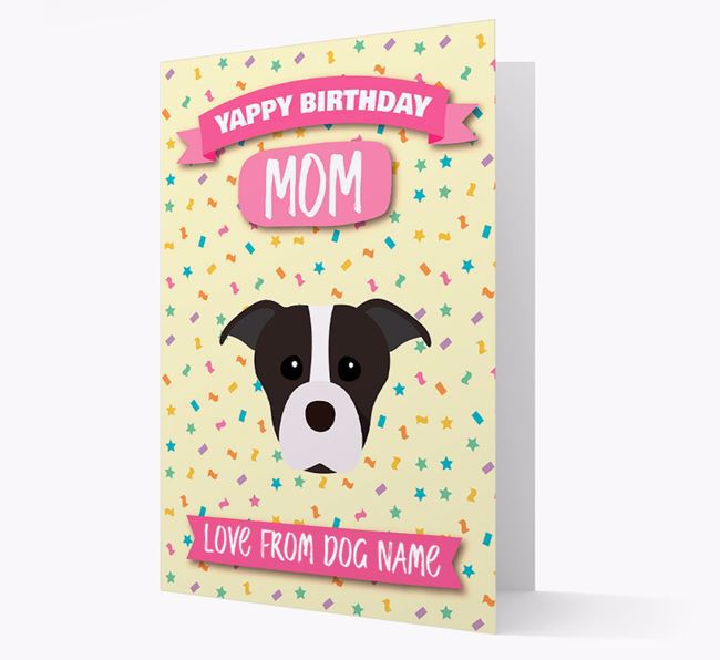 Personalized Card 'Yappy Birthday Mom' with Staffie Icon