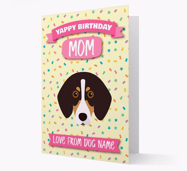 Personalized Card 'Yappy Birthday Mom' with Trailhound Icon