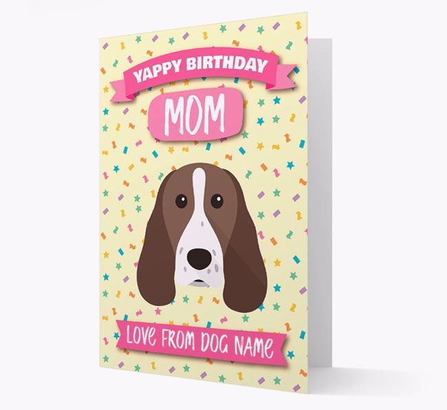 Personalized Card 'Yappy Birthday Mom' with Welsh Springer Icon