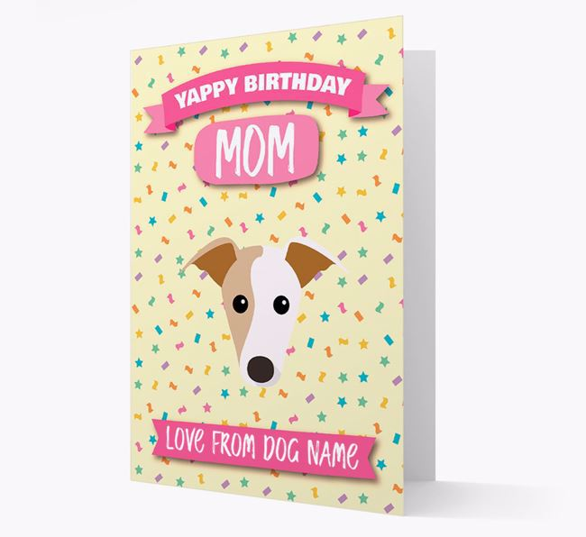 Personalized Card 'Yappy Birthday Mom' with Whippet Icon