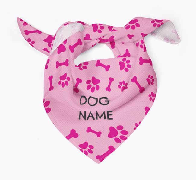 Personalized Bones and Pawprints Dog Bandana for your King Charles Spaniel