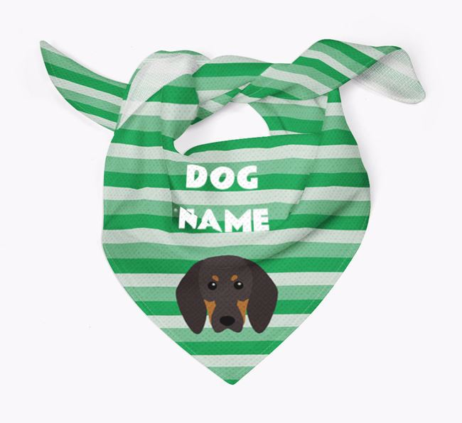 Personalised 'Stripes' Bandana for your Black and Tan Coonhound