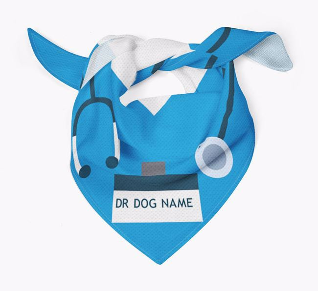 Personalised 'Doctor' Dog Bandana for your Dandie Dinmont Terrier