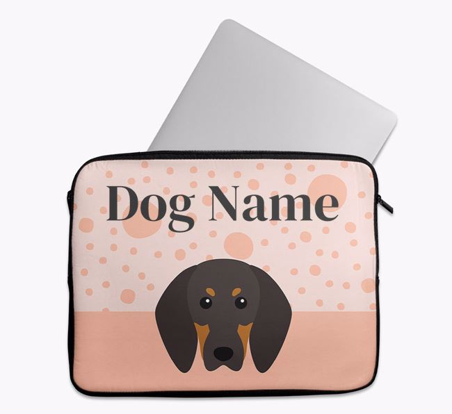 Personalised Tech Pouch with Black and Tan Coonhound Icon