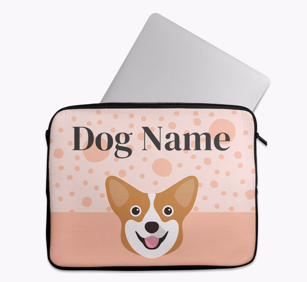 Personalised Tech Pouch with Spots and Corgi Yappicon