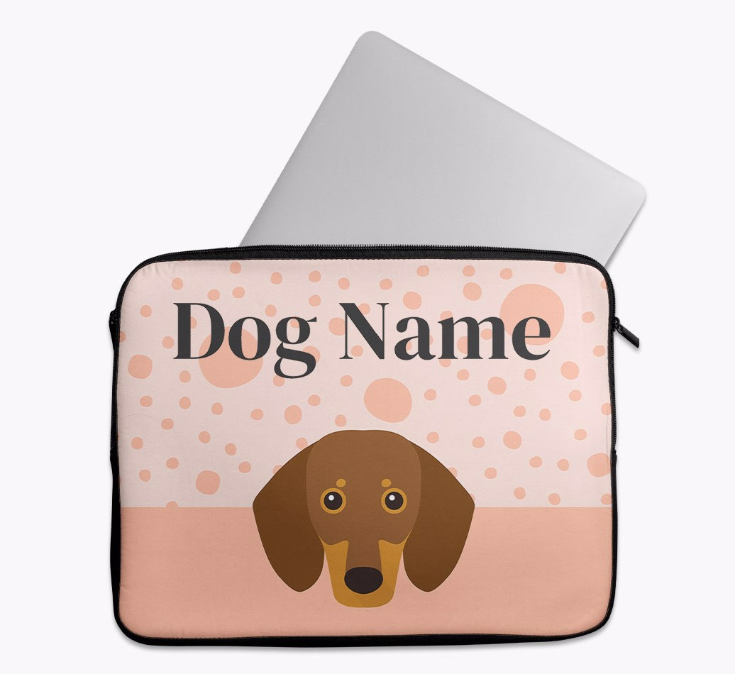 Personalised Tech Pouch with Spots and Dachshund Yappicon