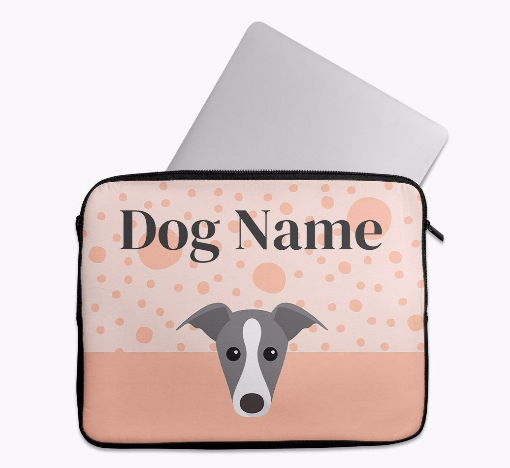 Personalised Tech Pouch with Spots and Greyhound Yappicon