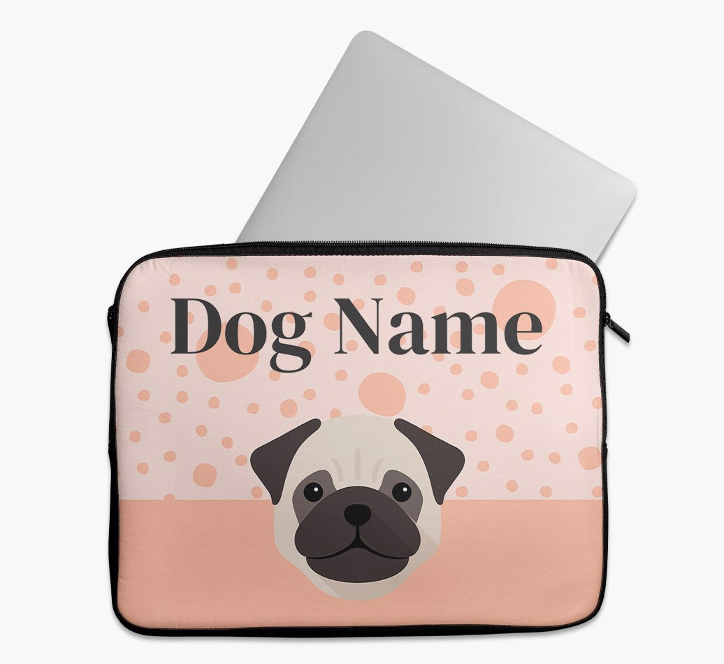 Personalised Tech Pouch with Spots and Pug Yappicon