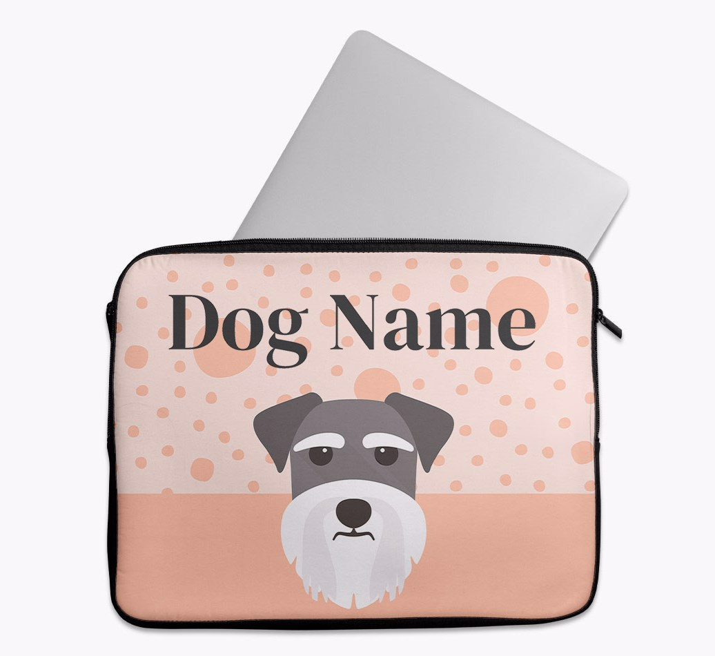 Personalised Tech Pouch with Spots and Schnauzer Yappicon