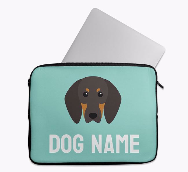 Personalised Bright & Bold Tech Pouch with Black and Tan Coonhound Icon