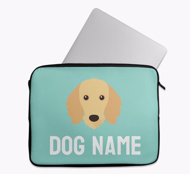 Personalised Bright & Bold Tech Pouch with Dachshund Icon