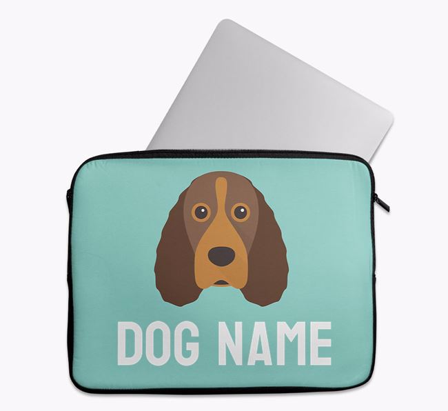 Personalised Bright & Bold Tech Pouch with Field Spaniel Icon