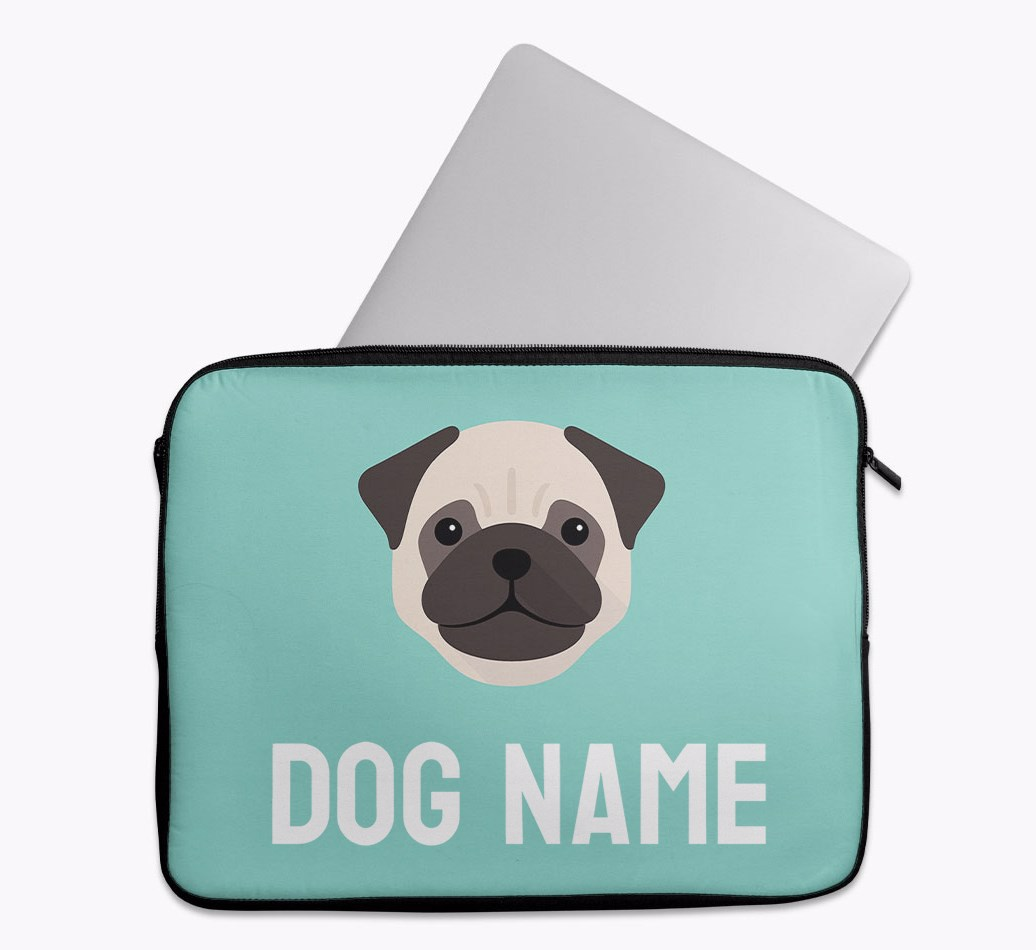 Personalised Tech Pouch Bright & Bold with Pug Yappicon
