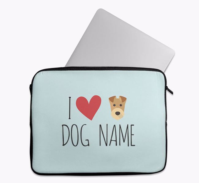 Personalised 'I Heart Your Dog' Tech Pouch with Airedale Terrier Icon