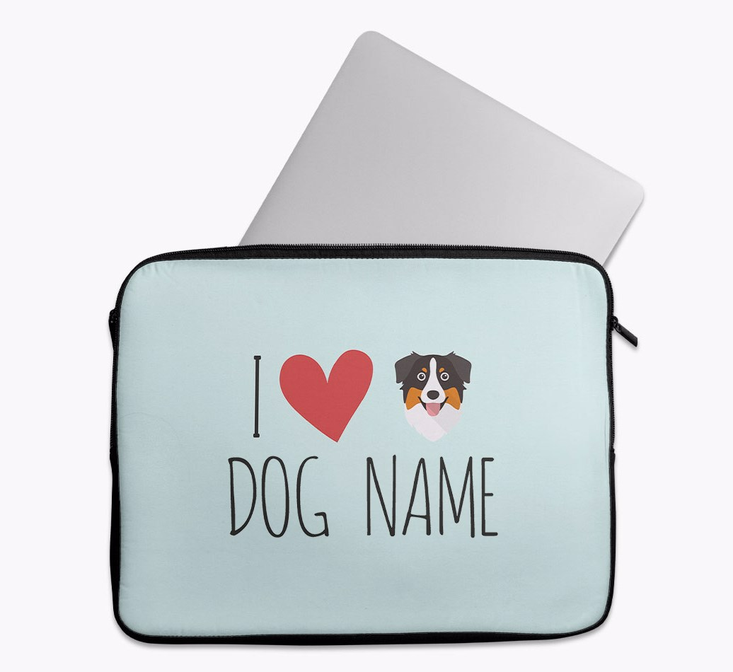 Personalised 'I Heart {dogsName}' Tech Pouch with Australian Shepherd Yappicon