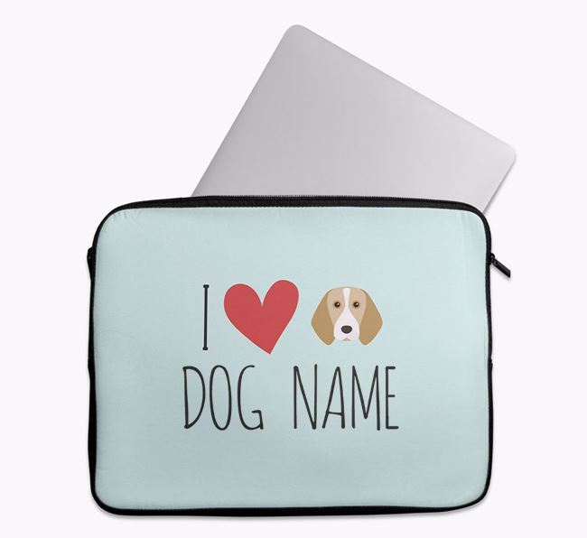 Personalised 'I Heart Your Dog' Tech Pouch with Beagle Icon