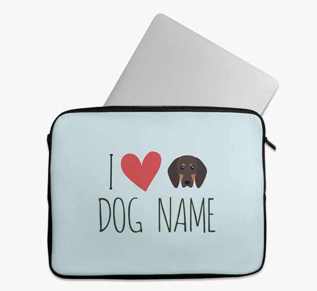 Personalised 'I Heart Your Dog' Tech Pouch with Black and Tan Coonhound Icon