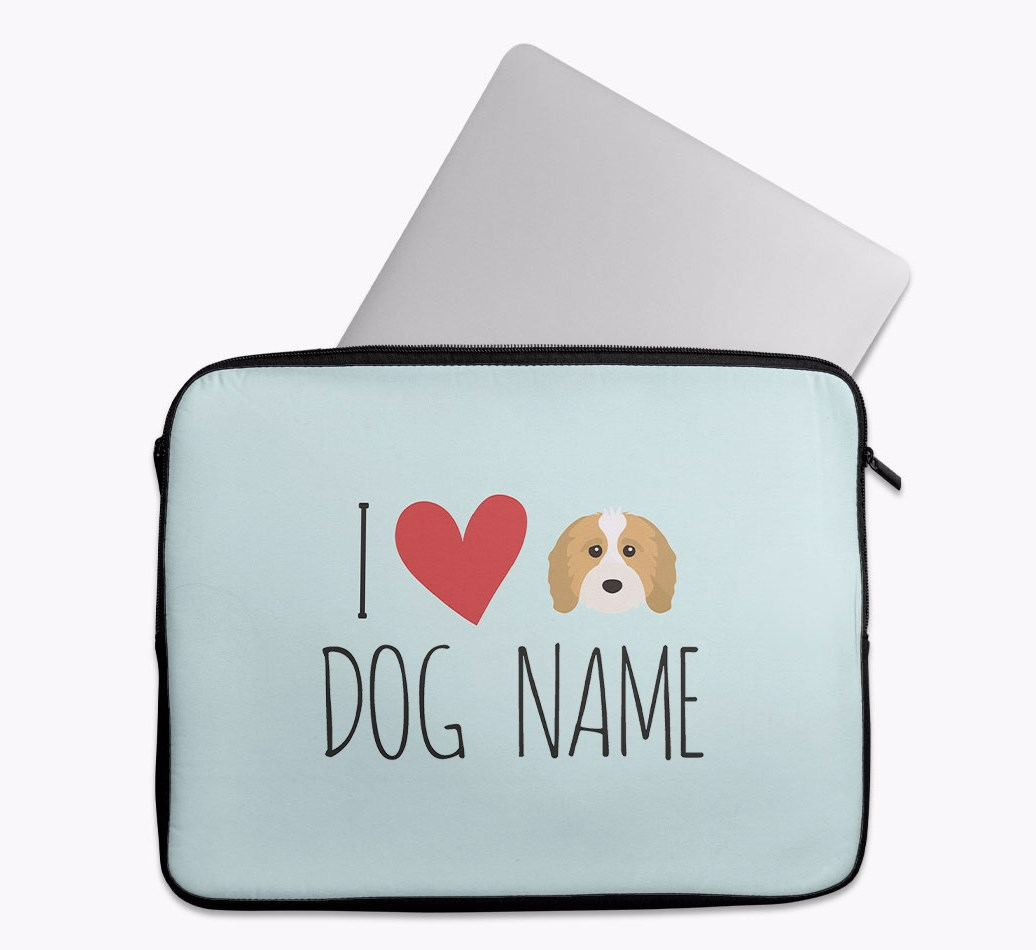 Personalised 'I Heart {dogsName}' Tech Pouch with Cavapoo Yappicon
