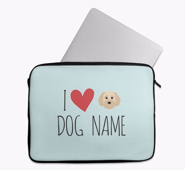 Personalised 'I Heart Your Dog' Tech Pouch with Cavapoochon Icon