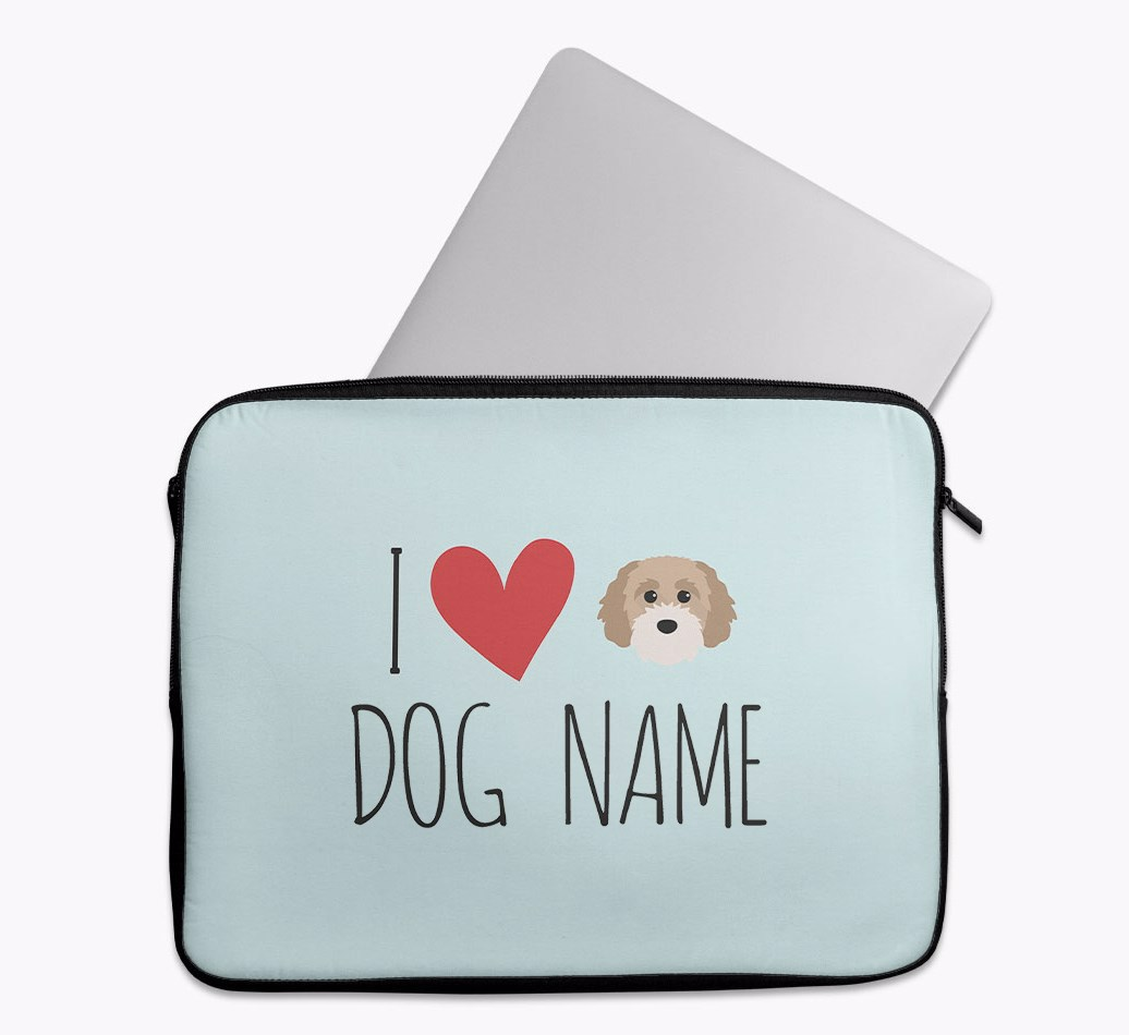 Personalised 'I Heart {dogsName}' Tech Pouch with Cavapoochon Yappicon