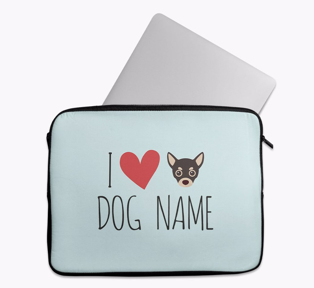 Personalised 'I Heart {dogsName}' Tech Pouch with Chihuahua Yappicon
