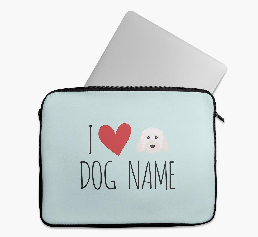 Personalised 'I Heart {dogsName}' Tech Pouch with Cockapoo Yappicon