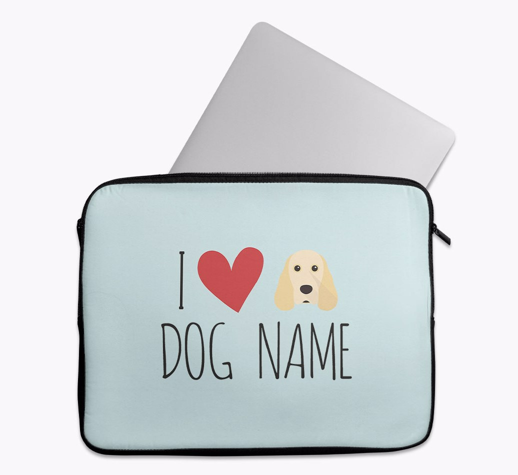Personalised 'I Heart {dogsName}' Tech Pouch with Cocker Spaniel Yappicon