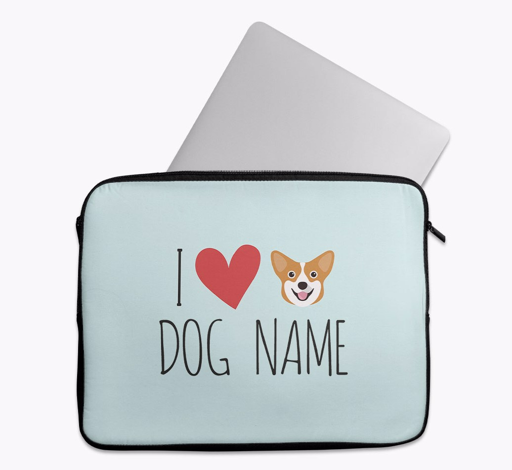 Personalised 'I Heart {dogsName}' Tech Pouch with Corgi Yappicon