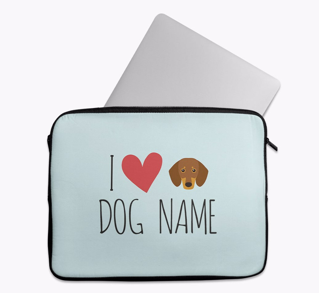 Personalised 'I Heart {dogsName}' Tech Pouch with Dachshund Yappicon