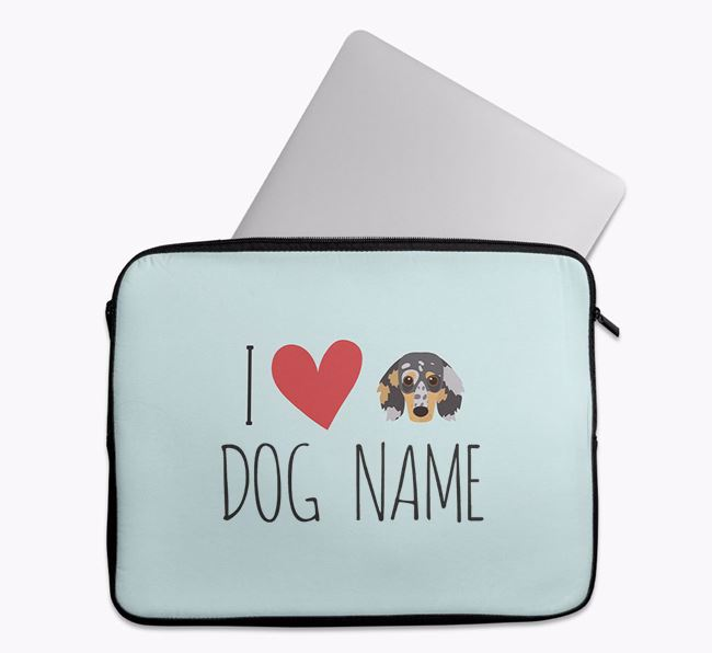 Personalised 'I Heart Your Dog' Tech Pouch with Dachshund Icon