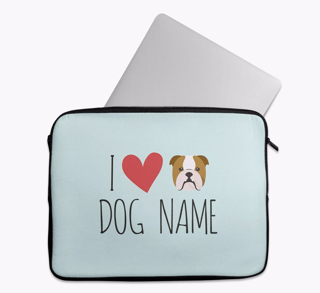 Personalised 'I Heart {dogsName}' Tech Pouch with English Bulldog Yappicon