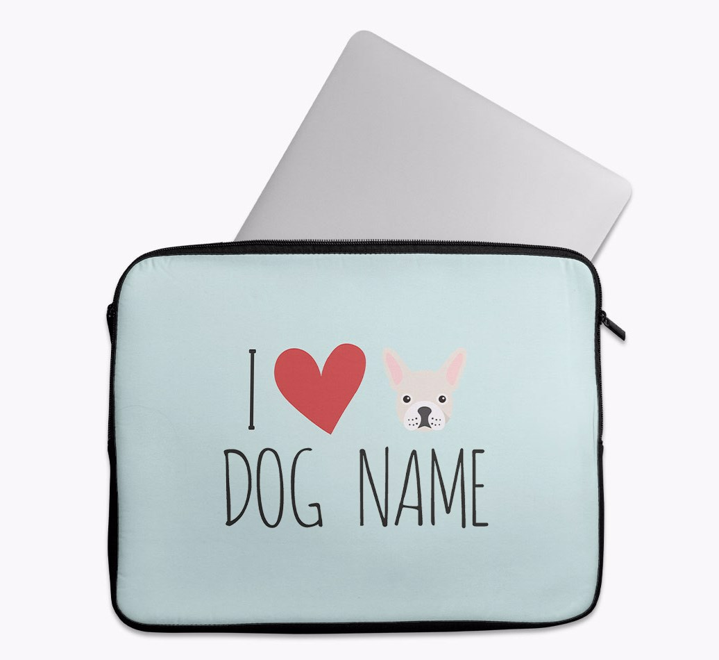 Personalised 'I Heart {dogsName}' Tech Pouch with French Bulldog Yappicon