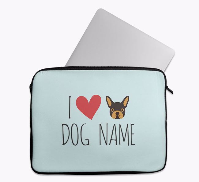 Personalised 'I Heart Your Dog' Tech Pouch with French Bulldog Icon