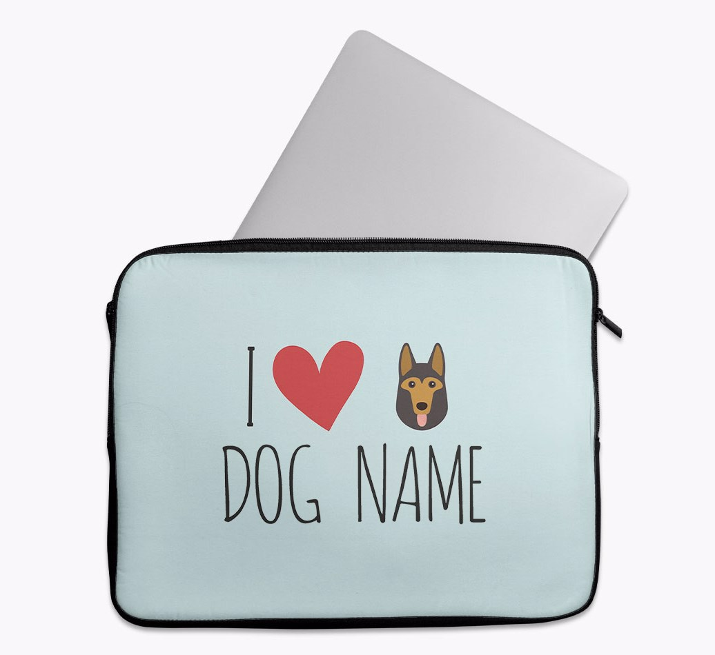 Personalised 'I Heart {dogsName}' Tech Pouch with German Shepherd Yappicon