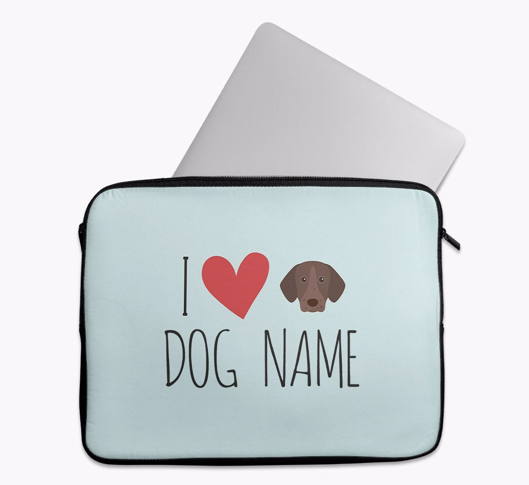 Personalised 'I Heart {dogsName}' Tech Pouch with German Shorthaired Pointer Yappicon