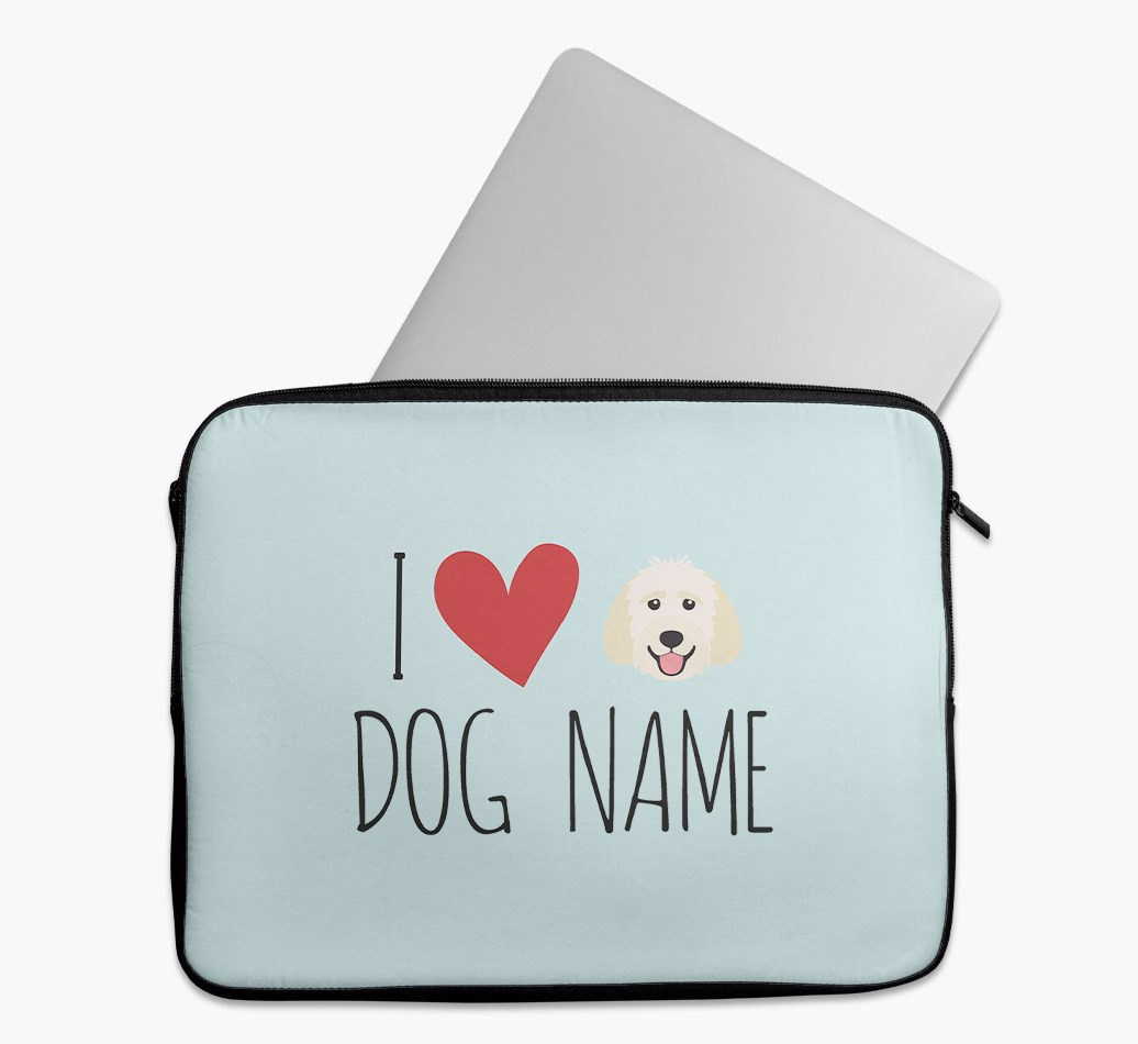 Personalised 'I Heart {dogsName}' Tech Pouch with Goldendoodle Yappicon