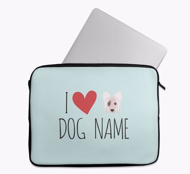Personalised 'I Heart Your Dog' Tech Pouch with Hairless Chinese Crested Icon